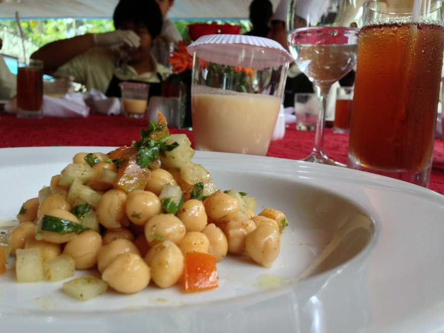 Channa Chaat (I call it 'Chickpea Salad'). Supporting tasteries include chai and mango lassi.